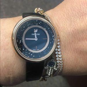 Swarovski crystalline rose gold leather band watch